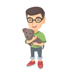 Caucasian happy boy in glasses holding a dog vector