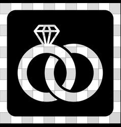 diamond wedding rings rounded square vector image