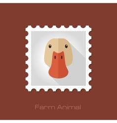 Duck flat stamp Animal head vector image vector image