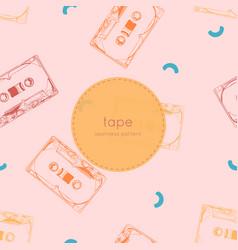 vintage audio tape cassette seamless pattern vector image vector image