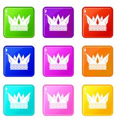 Cog crown icons 9 set vector