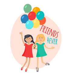 happy girls with colorful balloons friends forever vector image vector image