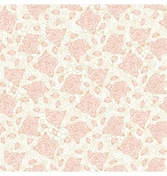 Light pink stylized doodle roses seamless pattern vector image vector image