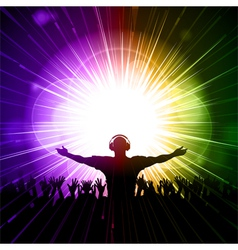 DJ and crowd on purple and green background vector image vector image