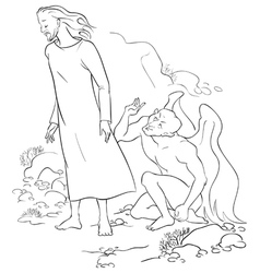 Temptation of Christ in the Wilderness outlined vector image vector image