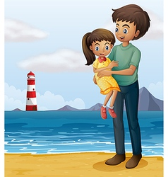 A father and a daughter at the beach vector image vector image