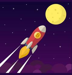 Bitcoin icon rocket vector