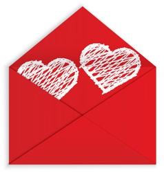 Heart white crayon inside envelope vector image vector image