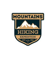 Mountains hiking vintage isolated badge vector