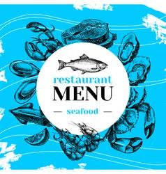 Restaurant fresh sea food menu Fish market poster vector image