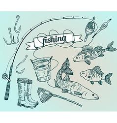 The drawn set fishing Rod salmon perch bucket fish vector image