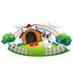 A dog with dog house and dog food inside vector