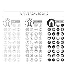 A set of universal black icons vector image