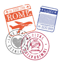 airplane and train travel stamps of rome in vector image