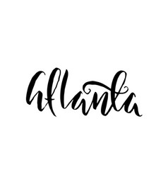 atlanta usa typography dry brush lettering vector image