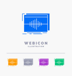 Audio frequency hertz sequence wave 5 color glyph vector
