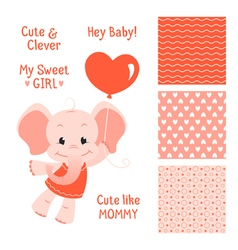 Baby elephant design with seamless patterns set vector image vector image