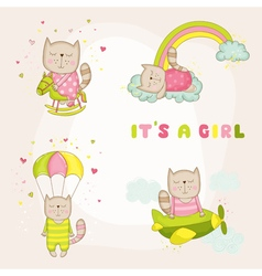 Baby girl cat set - shower or arrival card vector