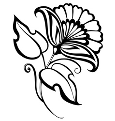 beautiful black and white flowerretro style vector image