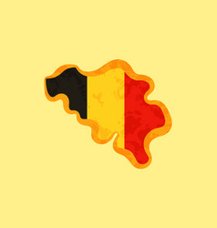 belgium - map colored with belgian flag vector image