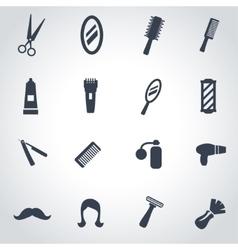 Black barber icon set vector