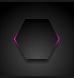 Black hexagon with glowing purple light abstract vector