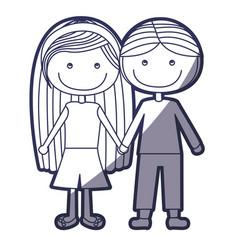 Blue color contour caricature couple kids in vector