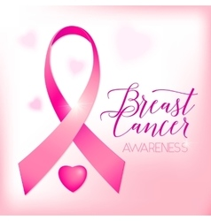 Breast cancer ribbons and heart awareness card vector