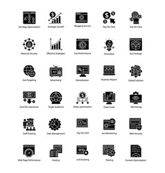 Bundle of web and seo glyph icons vector