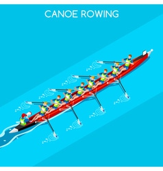Canoe Coxswain Eight 2016 Summer Games 3D vector
