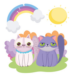 Cartoon cats sitting in grass sky pets vector