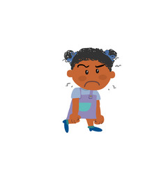 Cartoon character black girl angry vector
