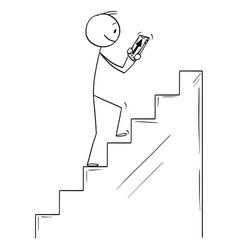 cartoon man climbing upstairs following vector image
