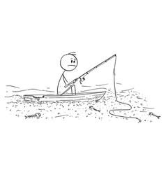 Cartoon man fishing fish on small boat on dry vector