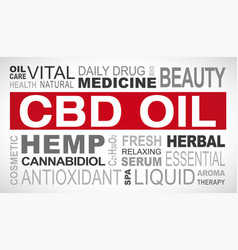 Cbd oil related tags word cloud vector