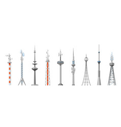 Cell towers and telecoms set metal construction vector