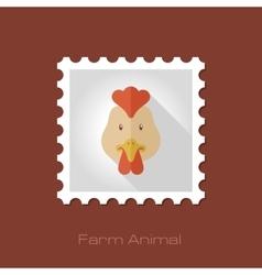 Chicken flat stamp Animal head vector image