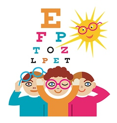 Children at the eye doctor vector