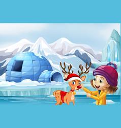 Christmas scene with reindeer and girl vector