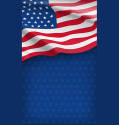 closeup american flag on starry blue background vector image