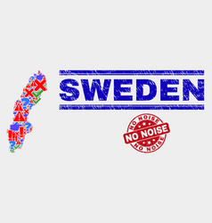 Composition sweden map sign mosaic and grunge vector