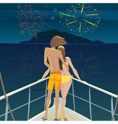 Couple on the ship admiring the fireworks over the vector