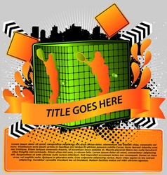 cube with tennis silhouette sport design series vector image