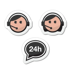 Customer service icons set labels - call center vector image