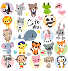 cute cartoon animals on a white background vector image