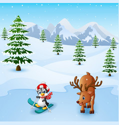 Cute penguin skiing with deer in snowing hill vector