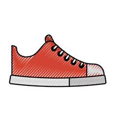 cute scribble shoe cartoon vector image