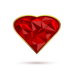 diamond heart in a gold frame vector image