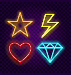 different symbols neon signs on dark background vector image