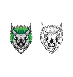 dino skull concept design template vector image